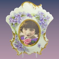 Antique French Limoges Picture Frame Hand Painted Purple Violets