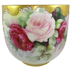 Magnificent - ANTIQUE -  Guerin Limoges France - LARGE - French Porcelain - Jardiniere - Vase - Hand Painted - Multicolored Roses - Gold Embellishments - Artist Signed - Dated 1903 - One-of-a-Kind - Museum Quality - Heirloom Treasure