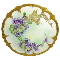 GDA Limoges Plate Hand Painted Violets Artist Signed