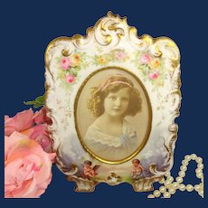 Antique Limoges Porcelain Frame Hand Decorated with Roses and Cherubs