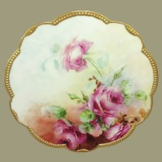AK Limoges Charger Hand Painted Roses Artist Signed