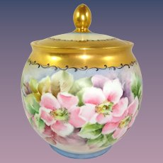 Bavaria Biscuit Cracker Jar Hand Painted Pink Winter Roses Artist Signed