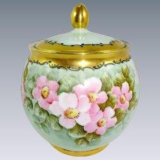 Bavaria Biscuit Cracker Jar Hand Painted Pink Winter Roses Artist Signed