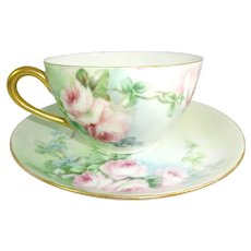 Antique French Limoges Tea Cup Saucer Hand Painted Pink Roses