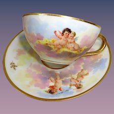 Antique Dresden Cup Saucer Hand Painted Cherubs Angels Putti