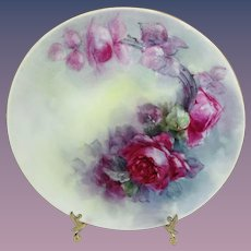 Haviland Limoges Plate Hand Painted Scarlet Roses Signed Stoner