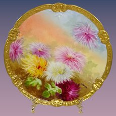 Antique French Limoges Plate Hand Painted Chrysanthemums Signed