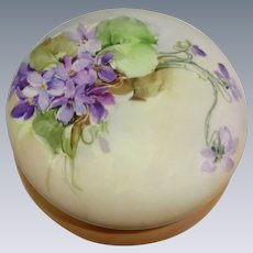 Antique French Limoges Powder Jar Hand Painted Violets Signed