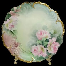 BEAUTIFUL Antique Limoges, France Plate Hand Painted Pink Tea Roses