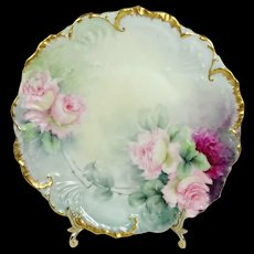 STUNNING Antique Limoges France Plate Hand Painted Pink Roses