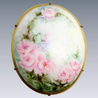 Stunning Ladies Hand Painted Porcelain Brooch