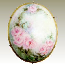 Hand Painted Porcelain Brooch Pin Pink Tea Roses