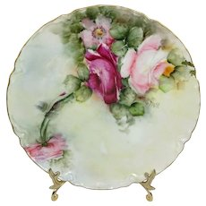 Haviland Limoges Plate Hand Painted Tea Roses Artist Signed