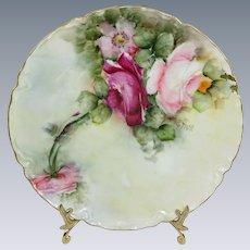 Haviland Limoges Plate Hand Painted Tea Roses Artist Signed