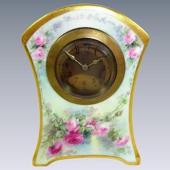 Stunning Austria Austrian Clock Hand Painted Roses Artist Signed