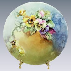 Artist Signed Limoges Plate Hand Painted Pansies