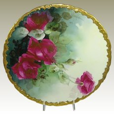 White's Art Charger Plate Hand Painted Crimson Roses Artist Signed Ney