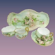 Antique French Limoges Child's Tea Set Hand Painted Signed Ester Miler