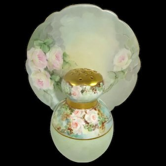Limoges Plate and Muffineer Hand Painted Roses Signed Dated