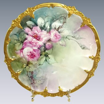 Antique GDA Limoges France Plate Hand Painted Roses Artist Signed Dated 1911