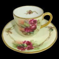 Hand Painted German Demitasse Cup Saucer Crimson Roses