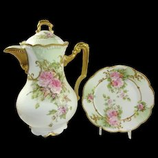 Antique French AK Limoges Chocolate Pot Pink Tea Roses
