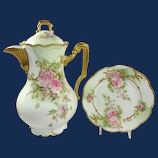Antique French AK Limoges Chocolate Pot with Plate Pink Tea Roses