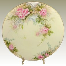 Antique French Limoges Plate Hand Paint Pink Tea Roses