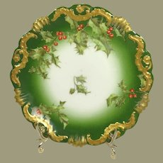 Antique French Limoges Plate with Christmas Holly