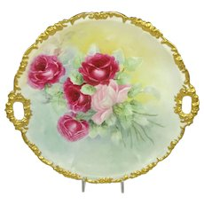 JPL Limoges France Charger Plate Hand Painted Pink Tea Roses