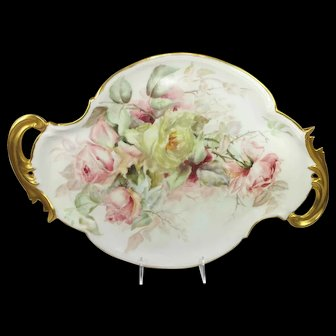 Antique Porcelain Tray Hand Painted Tea Roses Artist Signed Dated