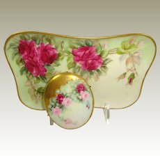 Limoges France Trinket Tray with Jeweled Porcelain Brooch Hand Painted Tea Roses