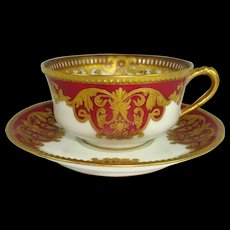 Haviland Limoges Cup Saucer Heavy Gilt Design
