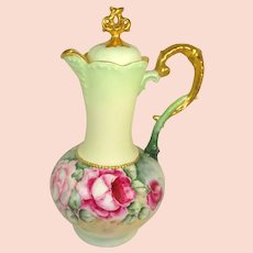 CT Austria Chocolate Pot Hand Painted Roses Artist Signed