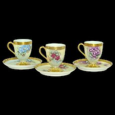 A Trio of Hand Painted Haviland Limoges Cups and Saucers Artist Signed