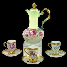 Beautiful Chocolate Pot with Matching Cups and Saucers