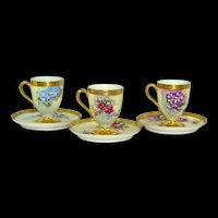 3 Haviland Limoges Hand Painted Chocolate Cocoa Cups Saucers Artist Signed