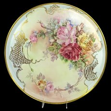 MAGNIFICENT Limoges Antique Plaque Hand Painted Multicolored Tea Roses