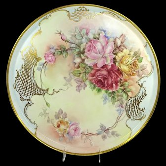 MAGNIFICENT Limoges Antique Plaque Hand Painted Multicolored Tea Roses