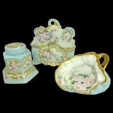 Antique Limoges Inkwell Set and Lady Cuspidor Hand Painted Pink Tea Roses