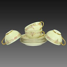 4 Haviland Limoges Cups Saucers Hand Painted Roses Jeweled Signed