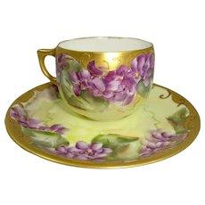 Antique AK Limoges France Cup Saucer Hand Painted Violets