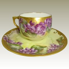 Antique AK Limoges France Cup Saucer Hand Painted Violets
