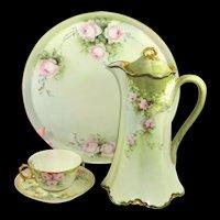Limoges Tea Set Hand Painted Pink Roses