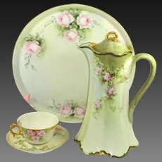 Limoges Tea Set Hand Painted Pink Roses