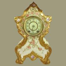 20th Century Vienna Austria Jeweled Porcelain Antique Shelf Clock