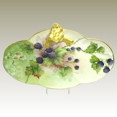 Antique Guerin Limoges Tray Hand Painted Blackberries Artist Signed Dated 1901