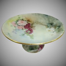 GDA  Limoges  Compote Artist Signed Hand Painted Roses
