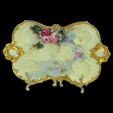 Antique AK Limoges Egg Tray Hand Painted Roses