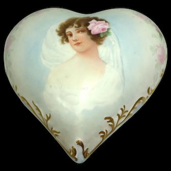 Antique Limoges Signed Dated Heart Shaped Trinket Box Hand Painted Portrait